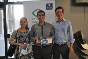 Image of Aimee Aitkin, 3rd Prize (Optometry), Muthana Noori, 1st Prize (Optometry), William Cook. 2nd Prize (Ophthalmology)