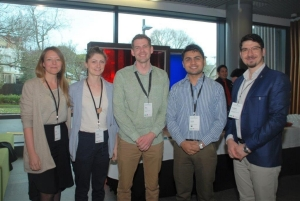 Image of From left: Drs Lisa Hamm, Lucy Goodman, Phil Turnbull with Safal Khanal & Soheil Doustkouhi